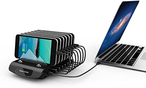 Charging Station Newmowa 7+1-Port Desktop USB Charging Station Organizer for Apple iPhone, iPad,Android Smartphones, Tablets and Other USB-Charged Devices, Can Charge New MacBook by Type-C PD Port