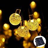 Qedertek Christmas Solar Garden Lights, 30 LED Solar Fairy Lights, 8 Lighting Modes Waterproof Crystal Ball Outdoor String Lights Perfect for Outdoor, Garden, Lawn, Yard, Fence, Festival Decorations (Warm White)
