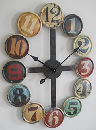 Amazoncom Large Metal Contemporary Wall Clock Home Kitchen