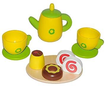 11 Tlg Set Puppengeschirr Mit Kuchen Aus Holz Kaffeekanne