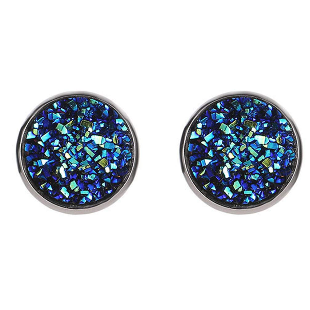 Myhouse Geometric Round Frosted Starry Stainless Steel Earrings Ear Stud for Women,Dark Blue