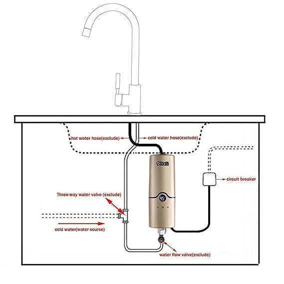 Calentador de agua sin tanque eléctrico instantáneo caliente de 240V 4 niveles de poder 5.5KW 5KW 4.5KW 3.5KW para el color de oro de la cocina del cuarto ...