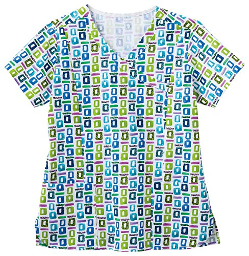 Geometric Print Top (Bio Women's Mock Wrap Geometric Pop Art Blue Print Scrub Top XX-Large Print)