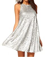 WIIPU womens o-neck Sleeveless Loose Sequin Dress Cocktail Party dress (J2-218)