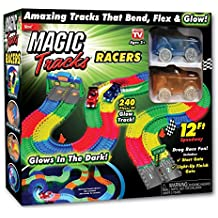 Ontel Magic Tracks Racer Set with 2 LED Race Car Flexible, Bendable Glow in the Dark Racetrack, Multi, 12'