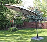 10' Offset Cantilever Patent Opening Patio 360 Degree Turning Vented Umbrella - Grey