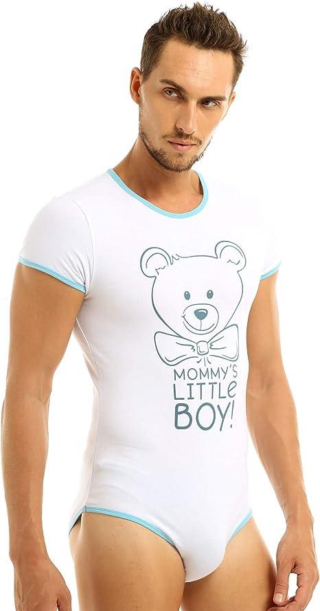 MSemis Camiseta Interior Body para Hombres Disfraz Bebé Adulto Mono Estampado Oso Cierre con Botones Ropa Interior Sissy Gay Jumpsuit Elástico: Amazon.es: Ropa y accesorios