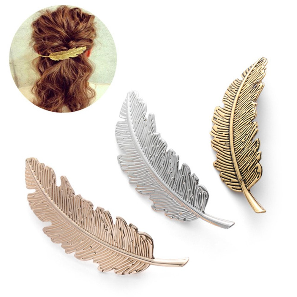 DWE Feather Hair Clips, 3Pcs Leaf Shaped Silver Shiny Clips Pin Claw Hair Accessories For Women Girls(Golden+Silver+Bronze)