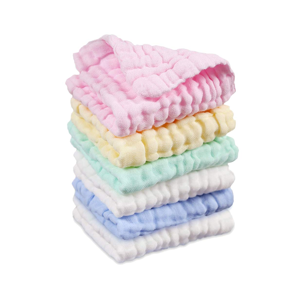 6 Pack Baby Muslin Washcloths, 100% Natural Cotton, Ultra Soft and Breathable, 11' X 11' 11 X 11 Leyun Dile Baby DL5066-P6