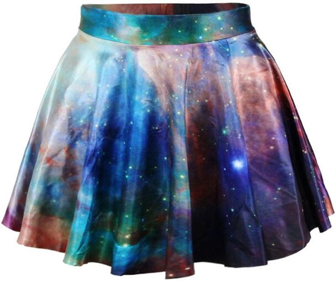 Herose Girls Womens Stretchy Digital Print Flared Flowy Pleated Casual Mini Skirt