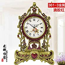 European-Style Living Room Antique Queen Brass Mute Clock Brass Quartz Clock Table Clock Villa Decoration,361-3 Epoxy Red Metal Accessories