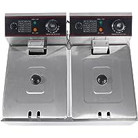 Dual Basket Deep Fryer, 12L UK Plug Commercial Professional Electric Countertop Stainless Steel Dual Deep Tank Dual Sieve Electric Fryer, 2500W + 2500W