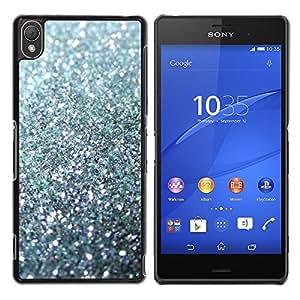 Glitter Plata chispeante Bling Platinum- Metal de aluminio y de plástico duro Caja del teléfono - Negro - Sony Xperia Z3