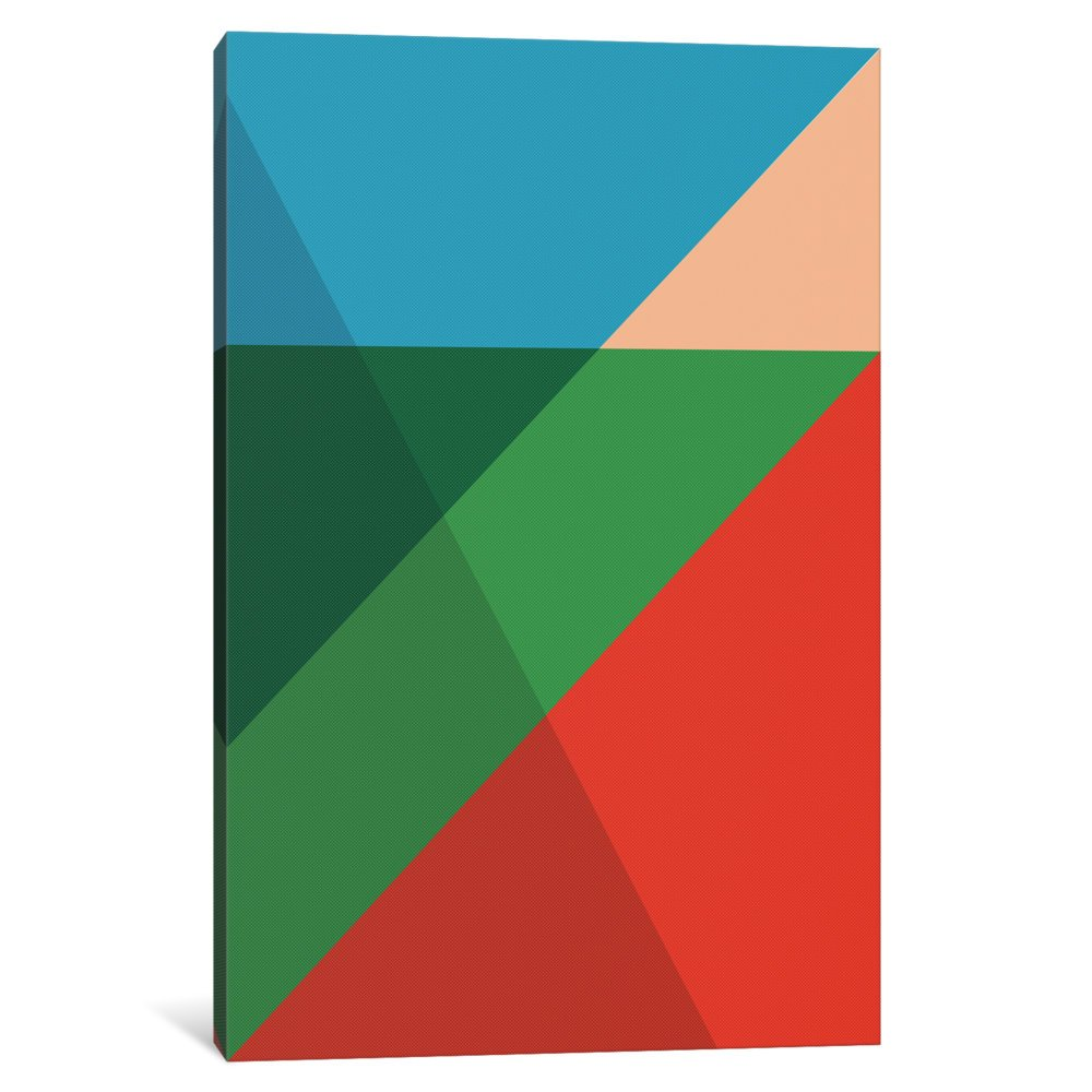 60 x 40//1.5 Deep iCanvasART 3 Piece Modern Art-Overlapped Triangles Canvas Print by Fabrizio