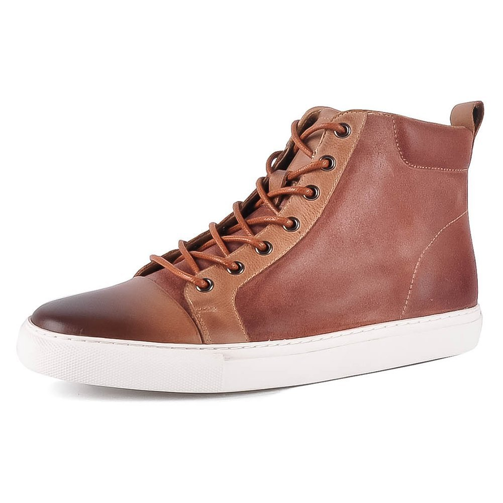 Yolkoma Classic Men's Lace up Round Toe Martin Boots High Top Leather Sneaker Fashion Chukka Boots for Men Brown Size 10