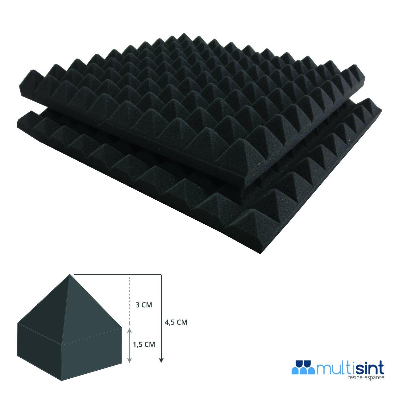 1,5+3 Multisint Confezione 2 Pannelli Pannelli Fonoassorbenti Piramidali Ignifughi Certificazione di Resistenza al Fuoco Classe 1IM Standard 50x50x4,5 cm Densit/à 30 Autoestinguente