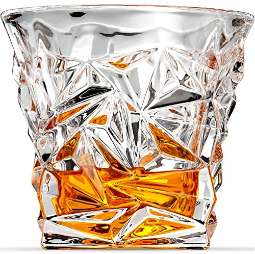 Ashcroft Diamond Cut Whiskey Glasses Set of 2, Designer Ultra Clarity Glassware for Liquor, Bourbon, Single Malt Scotch