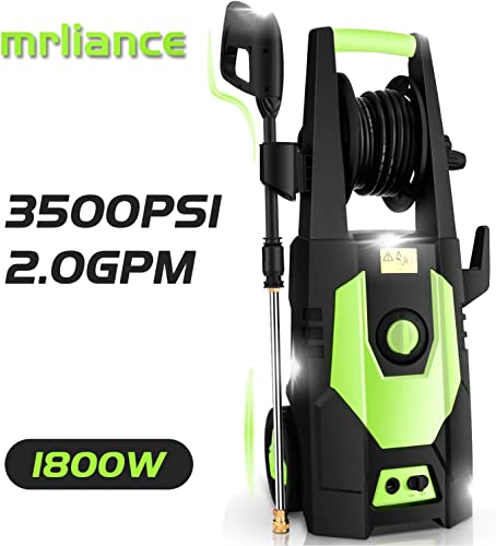mrliance 3500PSI Electric Pressure Washer 2.0GPM Power Washer 1800W High Pressure Washer Cleaner Machine with Spray Gun, Hose Reel, Brush, and 4 Adjustable Nozzle Green