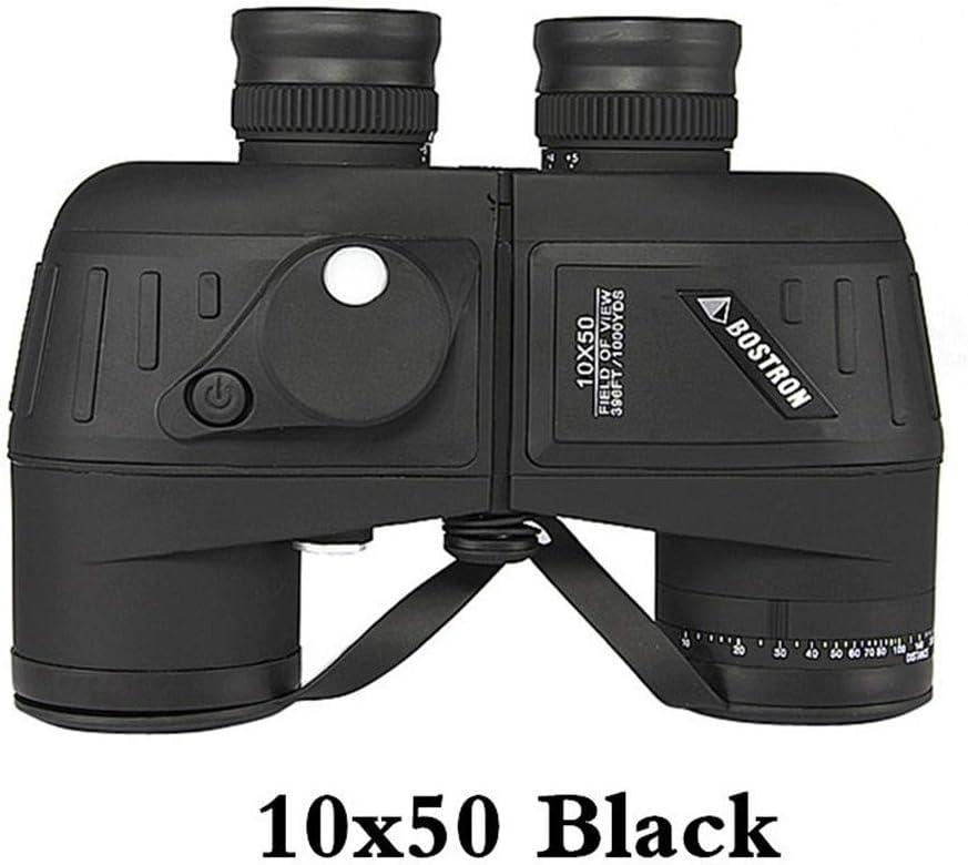 Vioaplem Prismáticos Militares Impermeable Profesional De La Marina Binocular Telémetro Y Compás del Ocular De Enfoque (Color : 10X50 Deep Black)