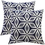 SLOW COW Cotton Embroidery Decorative Throw Pillow Covers Pillowcases Floral Pattern Cushion Covers 18 X 18 Inches Navy Blue