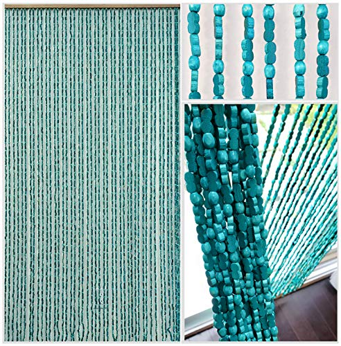 BeadedString Natural Wood and Bamboo Beaded Curtain-45 Strands-77 High-Plain Design-Bamboo and Wooden Doorway Beads-Boho Bohemian Curtain-35.5