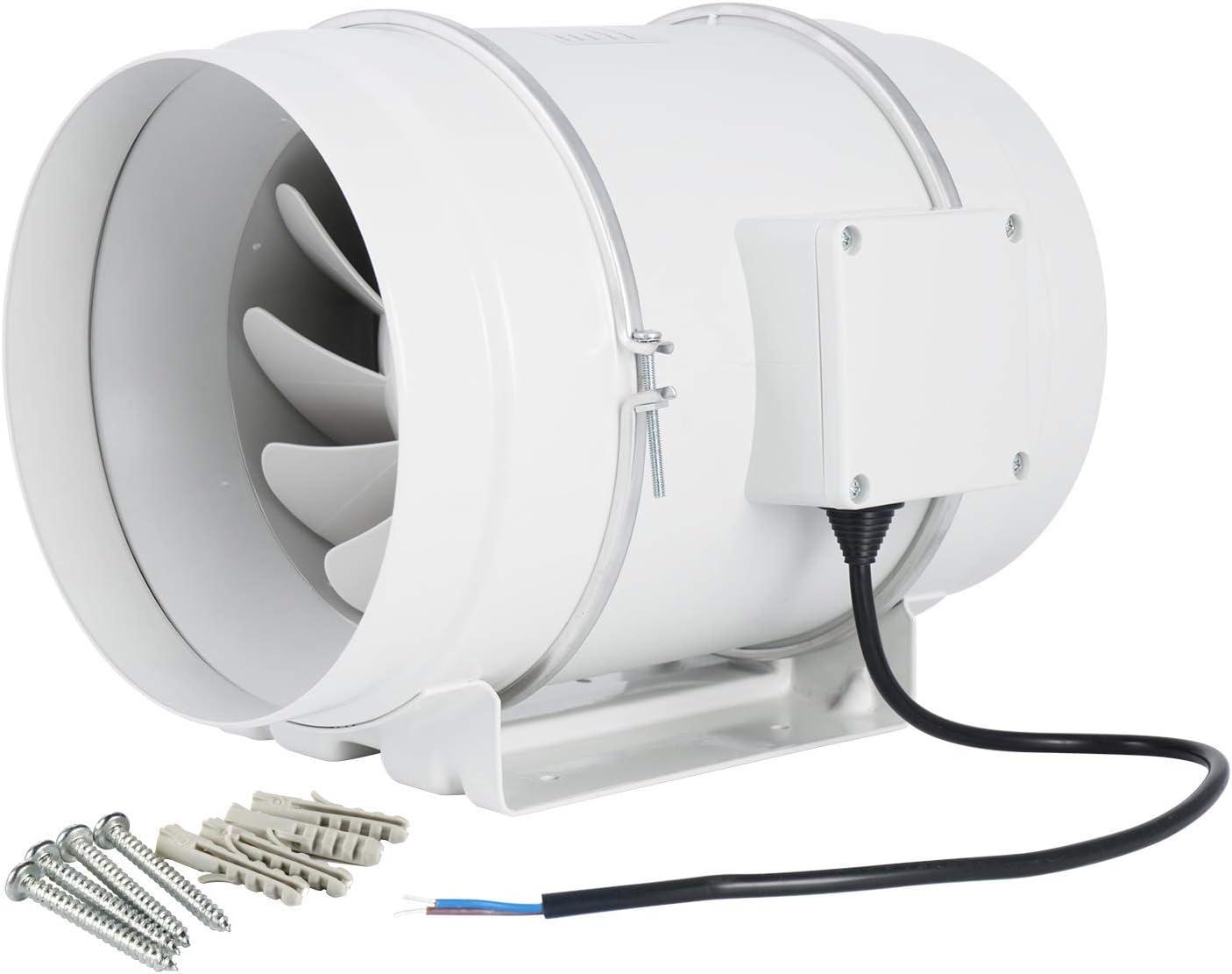 Hon&Guan Ventilador Extractor de Aire en Línea con con Temporizador/Motor de Dos-velocidades para Oficina, Hotel, Baño (ø200mm)