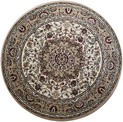 Bellagio Traditional Round Area Rug Beige Design 401 5 Feet 3 Inch X 5 Feet 3 Inch