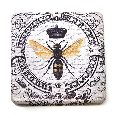 Value Arts French Honey Bee Purse Compact Travel Makeup Mirror and Magnification, 2.45 Inches Square