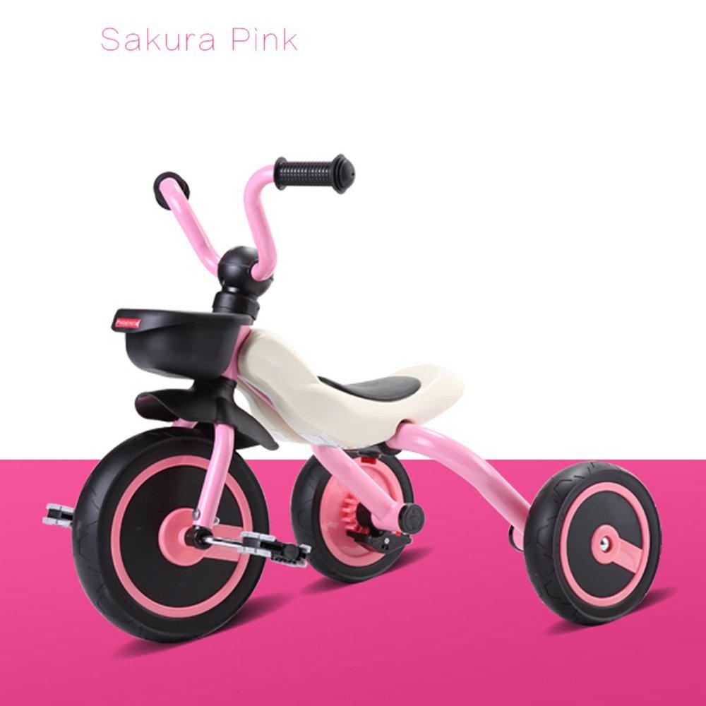 HAIZHEN マウンテンバイク 折り畳み機能付きの子供用トライク3輪用自転車三輪車2年から5年(ボディサイズ:90-120/CM)、安定した子供用 新生児 B07C6T6SJKピンク ぴんく