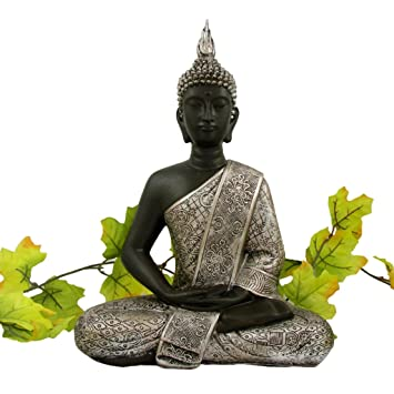 Buddha Statue silber Dekoration Wohnzimmer 30 cm