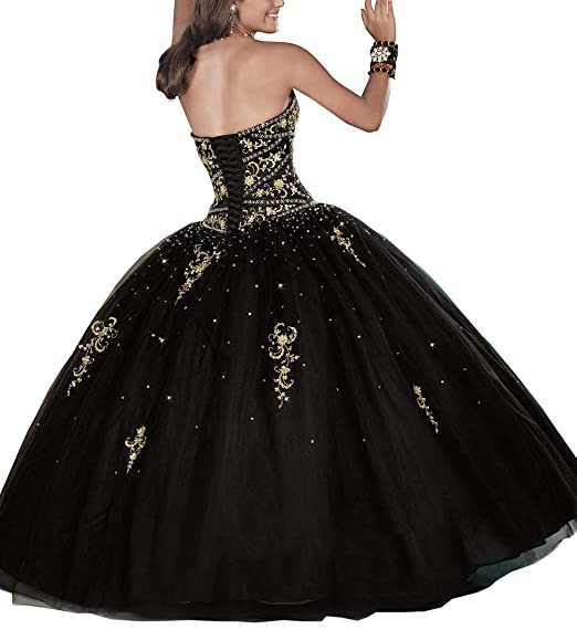 Datangep Womens Sweetheart Embroidery Tulle Long Ball Gown