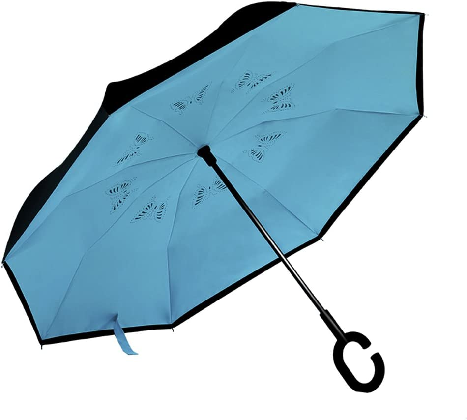 5 Colors Available bumbershoot LJHA yusan Umbrella//Reverse Folding//Sun Protection//UV Protection//Double Layer Windproof//With C-Shaped Hand-free Handle//Business//Car Use Stick Umbrella