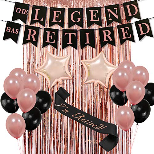 The Legend HAS Retired Party Decorative Banner, Rose Gold Backdrop Curtain Retired Sash Ideal for Retirement Party Decorations]()