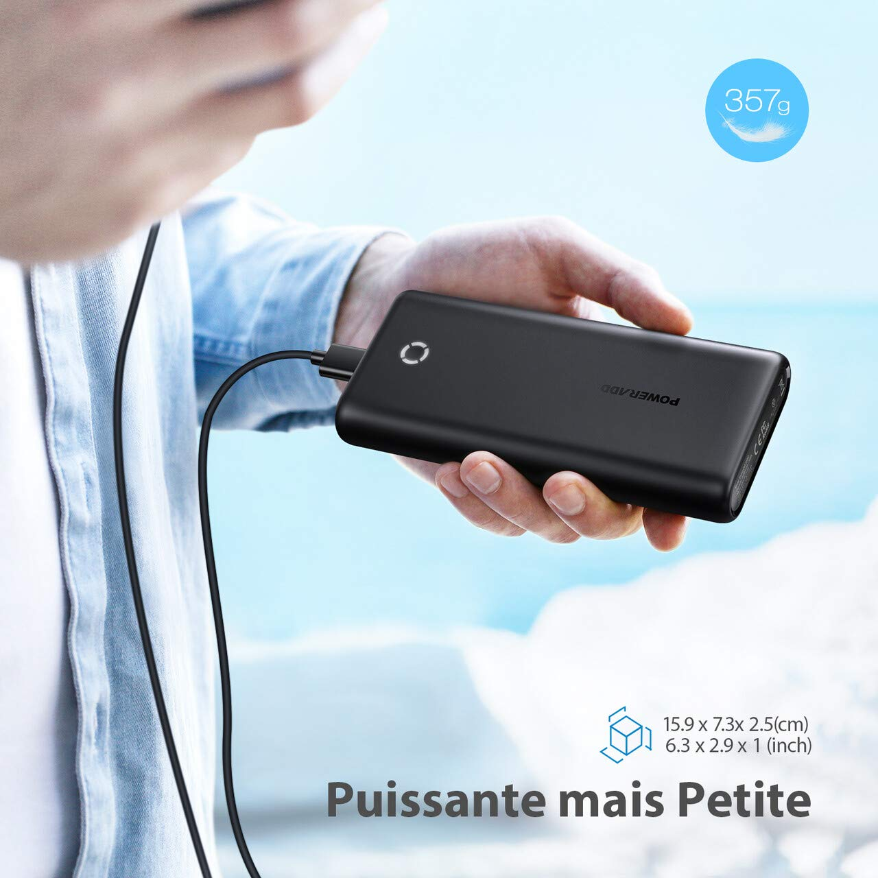 POWERADD Batterie Externe 20000mAh - EnergyCell Grande Capacité mais Mini Power Bank 2 Port Sorties avec 3 en 1 Câble pour Huawei, iPhone, iPad, Samsung, Wiko, Nexus, Xiaomi, Tablette PC etc.