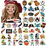 tattoos removable pirates - Pirate Tattoos(96Pcs), Konsait Pirate Temporary Tattoo Fake Neverland Pirated Cannon Powder Jake Captain Tattoo Body Sticker for Pirate Birthday Party Favors Supplies Kids Boys Girls Party Bag Filler
