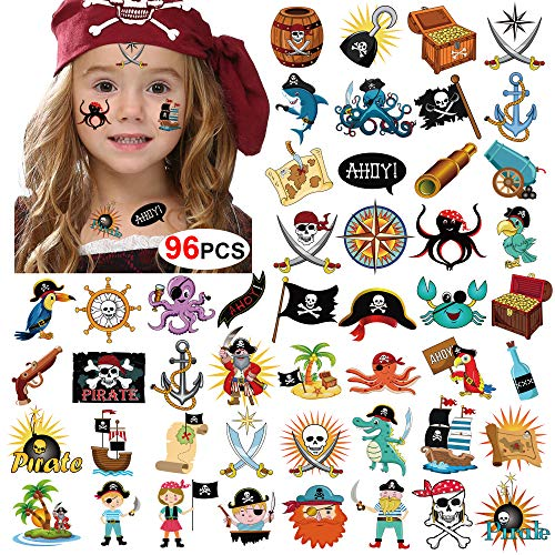Pirate Tattoos(96Pcs), Konsait Pirate Temporary Tattoo Fake Neverland Pirated Cannon Powder Jake Captain Tattoo Body Sticker for Pirate Birthday Party Favors Supplies Kids Boys Girls Party Bag Filler]()