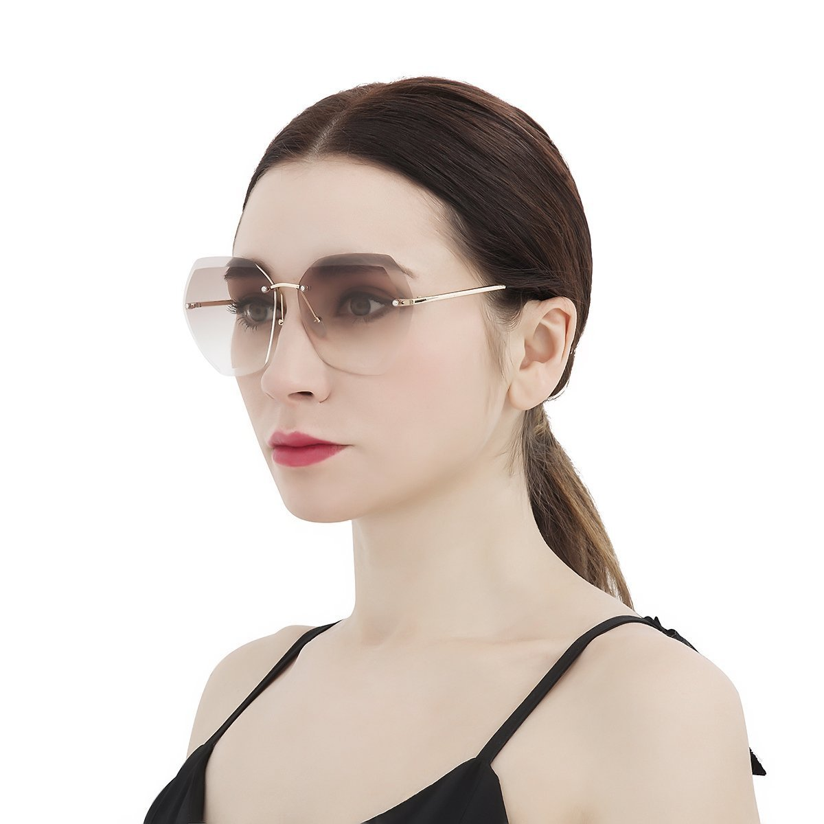 WISH CLUB Oversized Fashion Rimless Sunglasses for Women Hexagonal Flat Lens Frameless Rimmed Eyewear for Girls UV Transparent Glasses (Brown) 7741