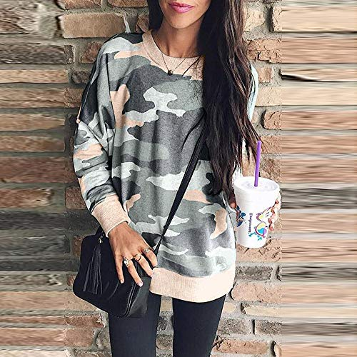 Shirt col Manches Shirt dcontract Ample et Style Femme Rond Longues Sweat Mode kingwo T Camouflage Kaki FOqHR8wxBB