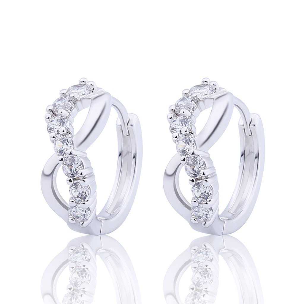 GULICX Jewellery Lucky Figure 8 Hoop Pierced Huggie Earrings with Clear CZ Silver Tone for Bridesmaid Gelei Jewelry Co. Ltd. E185a