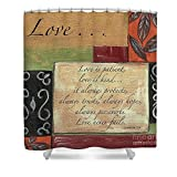 Pixels Shower Curtain (74'' x 71'') ''Words To Live By Love''