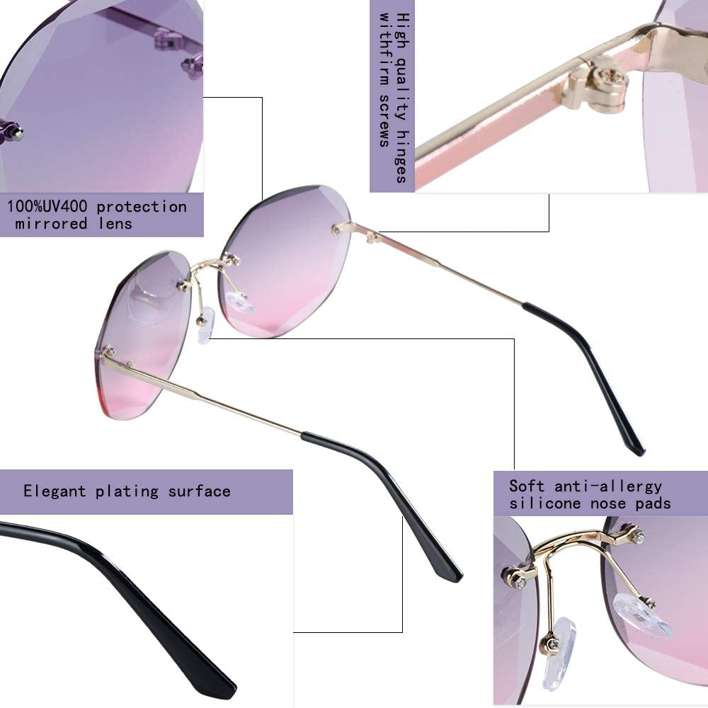 Womens Sunglasses for Women and Men Rimless Glasses Polarized UV Protection