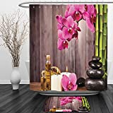 Vipsung Shower Curtain And Ground MatSpa Decor Collection Spa Orchid Flowers Rocks Bamboo Asian Style Aromatherapy Massage Therapy Picture Print Pink Green BeigeShower Curtain Set with Bath Mats Rugs