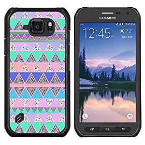 LECELL--Funda protectora / Cubierta / Piel For Samsung Galaxy S6Active Active G890A -- Native American Pattern Pink Teal --