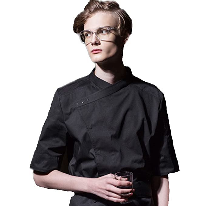 XINFU Fashion Chefs Womens Short Sleeve Kitchen Clothes Western Restaurant Chef Coat Hotle