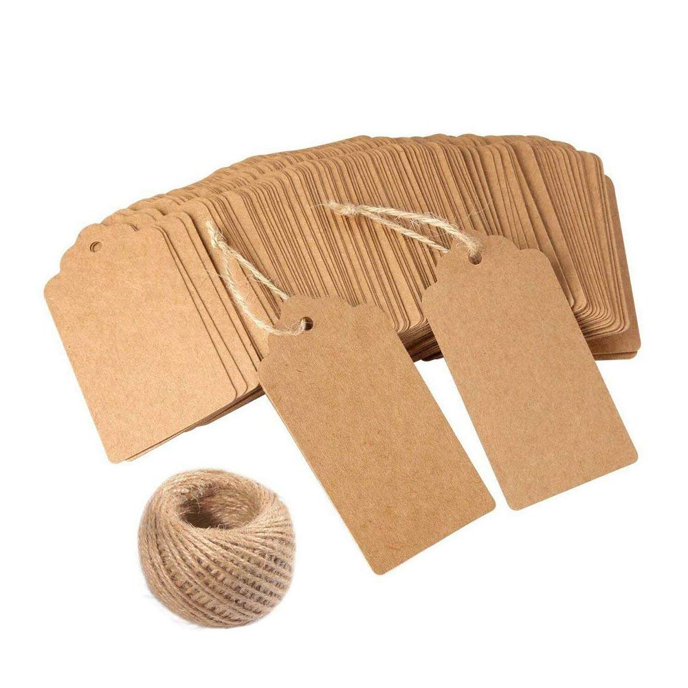100PCS Gift Tags Kraft Paper Tag 33 Feet Natural Jute Twine for Arts and Crafts, Wedding Thanksgiving and Holiday BoTen