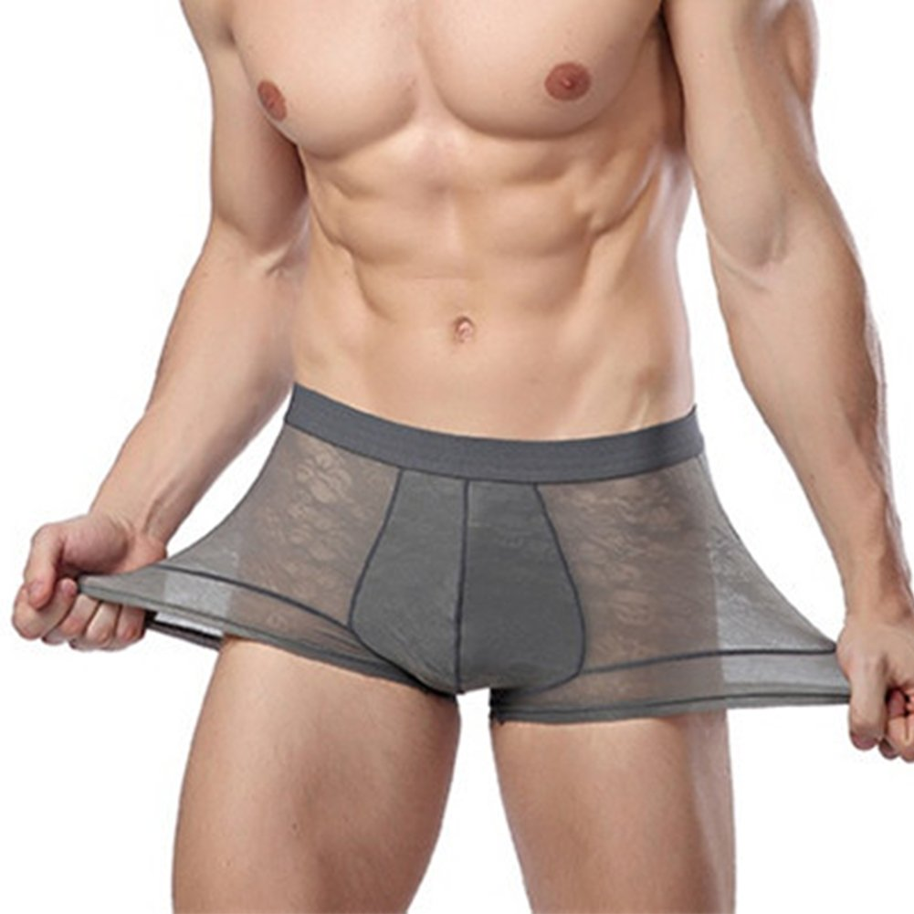 MASS21 Men' s Mesh Breathable Boxer Briefs Quick-Dry Pouch Trunks with No Fly