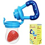 Biubee Baby Food Feeder-Silicone Teether Nibbler with Fresh Fruits Vegetable for Toddlers Blue(M)