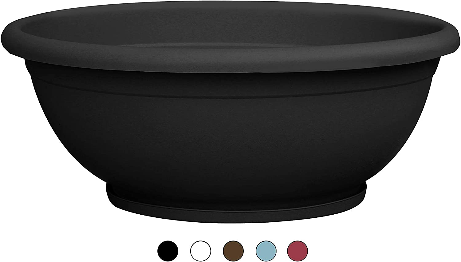 """TABOR TOOLS Plastic Planter Bowl, Garden Bowl for Indoor and Outdoor Use, Round. VEN303A. (12"""", Black)"""