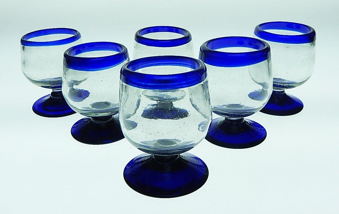 Mexican Shot Glasses, Blue Rim, Snifter Design, Hand Blown, set of 6