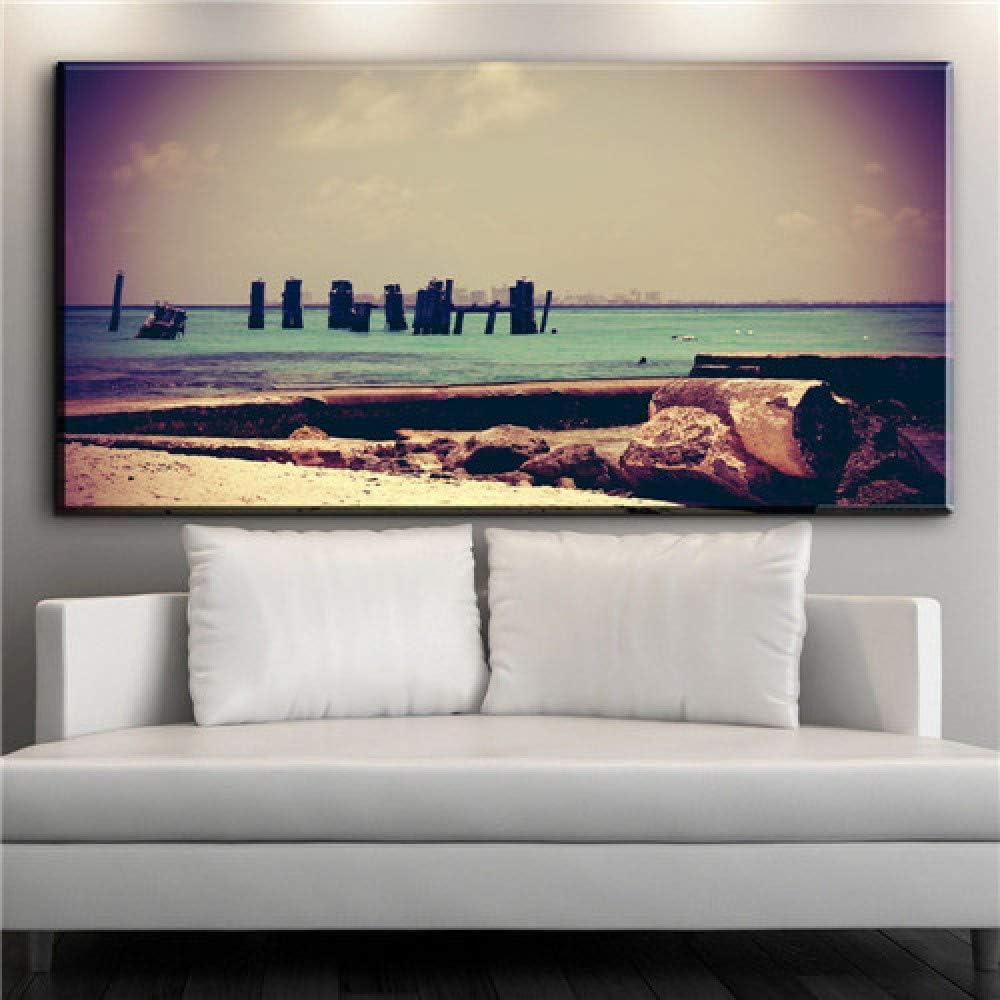 NIMCG Playa Paisaje Moderno Lienzo Moda Arte Estilo Pared impresión Lienzo Cuadro Pintura al óleo Arte Pintura salón Dormitorio decoración (sin Marco) A1 20x40 cm: Amazon.es: Hogar